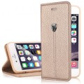 Gold Edel Leder Book Tasche Kreditkartefach iPhone 6 6S Plus 5.5""
