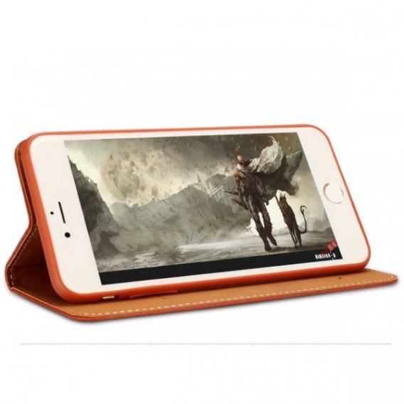 Gold Edel Leder Book Tasche Kreditkartefach iPhone 6 6S Plus