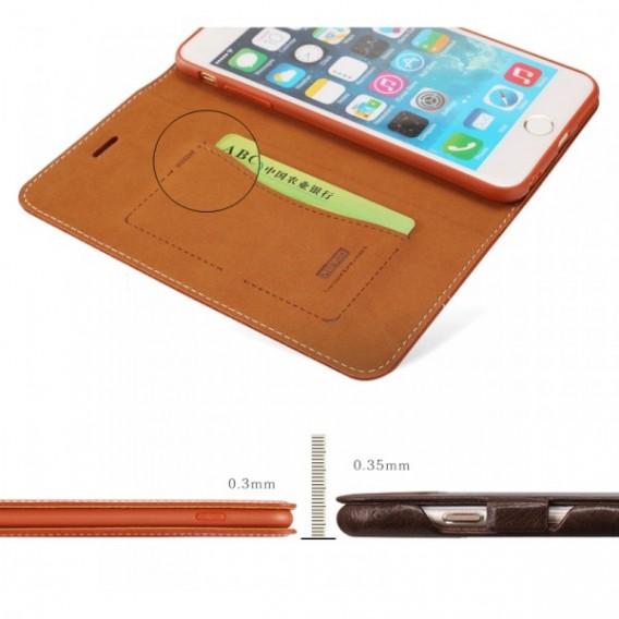 "Gold Edel Leder Book Tasche Kreditkartefach iPhone 6 6S 4.7"""