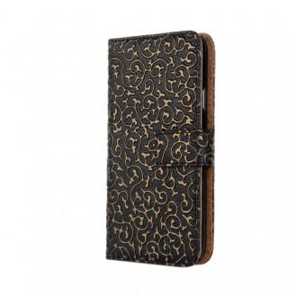 Schwarz Edel  Flip Case Tasche Kreditkartefach iPhone 6 und 6S
