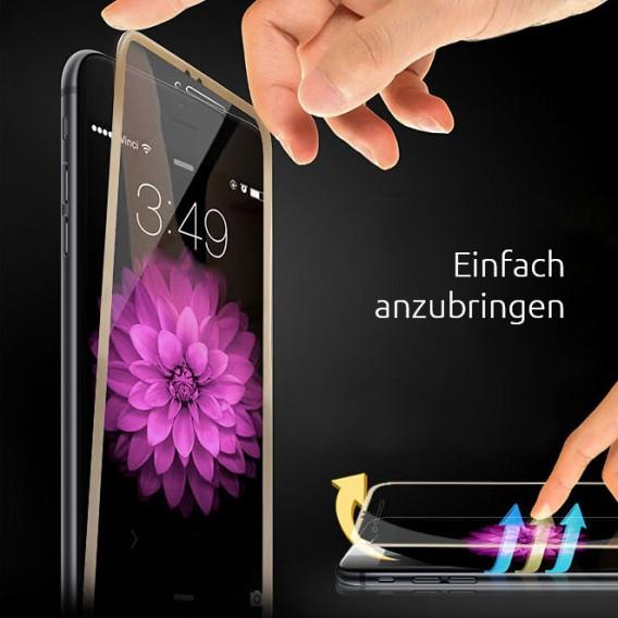 Gold 9H Panzer Schutzfolie Alu-Rand iPhone 6+ 6s Plus