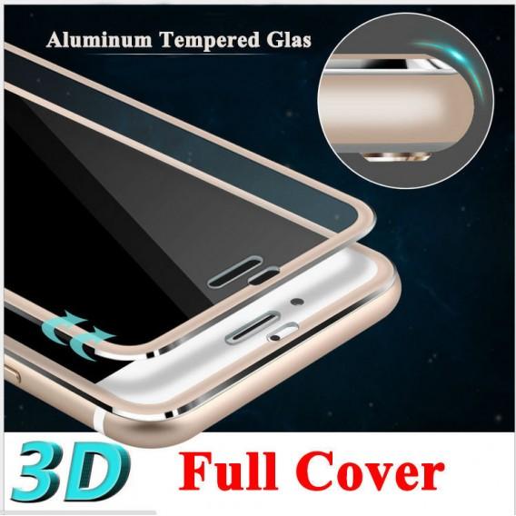 Silber 9H Panzerglas Schutzfolie Alu-Rand iPhone 6+ 6S+