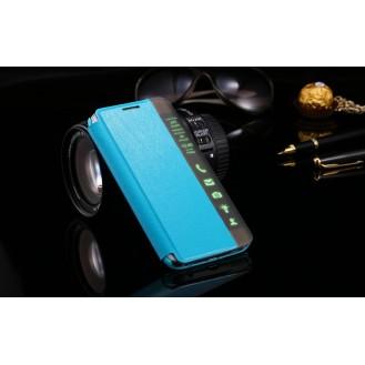 Blau Flip Tasche mit Nachrichten Fenster Galaxy S6 Edge