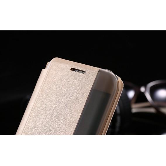Gold Flip Tasche mit Nachrichten Fenster Galaxy S6 Edge