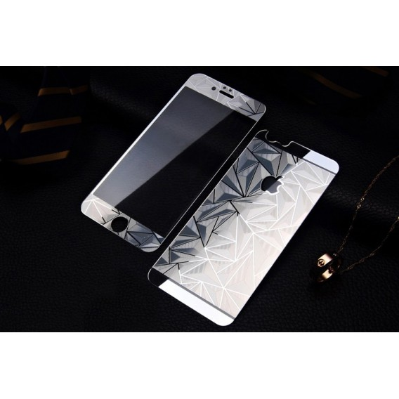 Silber Luxus 3D Panzer Glas Folie iPhone 6 Plus/6s Plus