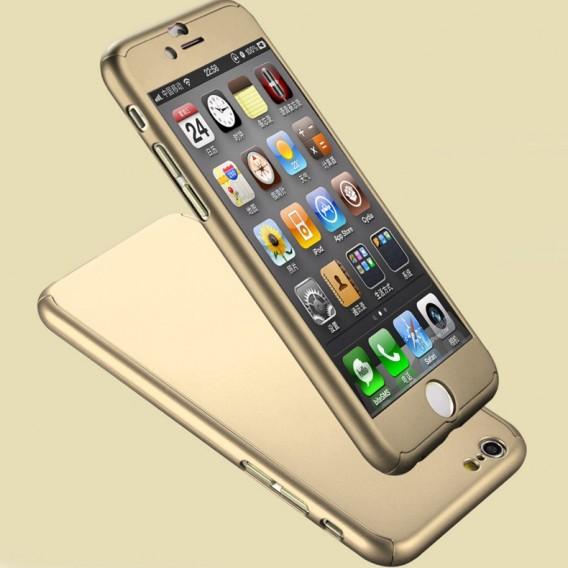 Gold iPhone 360° Full Cover iphone 6 6S Schutzhülle Panzerglas