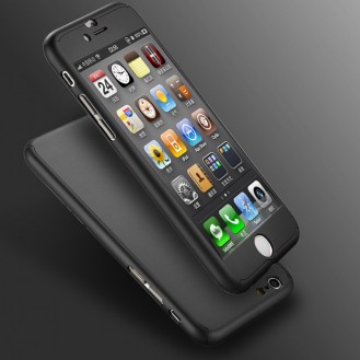Schwarz iPhone 360° Full Cover iphone 6 6S mit Panzerglas