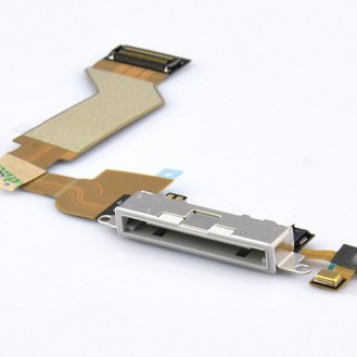 iPhone 4 Ladebuchse Dock Connector USB Flex Kabel Anschluss in Weiss A1332, A1349