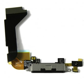 iPhone 4 Ladebuchse Dock Connector USB Flex Kabel Anschluss in Schwarz A1332, A1349