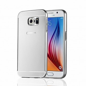 Galaxy S6 Silber Gold LUXUS Aluminium Spiegel Bumper