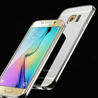 Galaxy S6 Edge Silber LUXUS Aluminium Spiegel Bumper