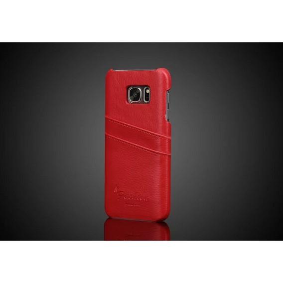 Galaxy S7 Edge Wallet Card Leder Case Rot