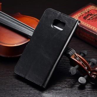 Schwarz Book Wallet Leder case Galaxy s7