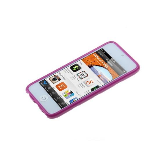 Lila Weiss gepunktet TPU Gel Schutzhülle iPod Touch 5 G