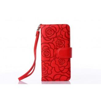 Book Wallet Flip Leder Tasche Hülle mit Kartenfach Lila