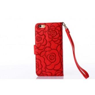 Book Wallet Flip Leder Tasche Hülle mit Kartenfach Rot