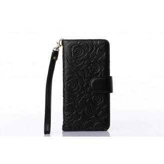 Book Wallet Flip Leder Tasche  Hülle mit Kartenfach Schwarz