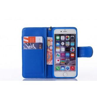 Book Wallet Flip Leder Tasche Hülle mit Kartenfach Blau