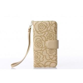Book Wallet Flip Leder Tasche  Hülle mit Kartenfach Gold