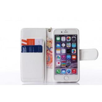 Book Wallet Flip Leder Tasche Hülle mit Kartenfach weiss