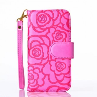 Book Wallet Flip Leder Tasche Hülle mit Kartenfach Pink