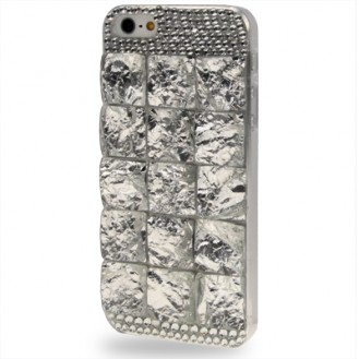 Silber 3D Bling Chrom Strass Case iPhone 5 / 5S / SE