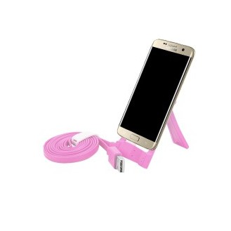 Datenkabel Micro USB mit Standfunktion Pink