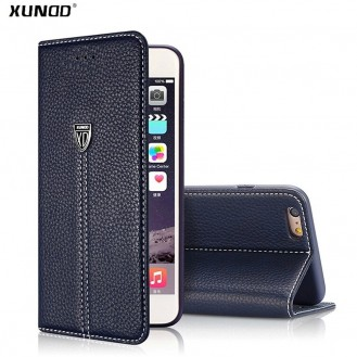 Braun Edel Leder Book Tasche Kreditkarten fach iPhone 7