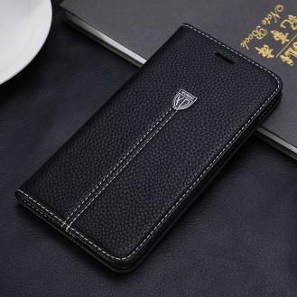Schwarz Edel Leder Book Tasche iPhone 7 Plus