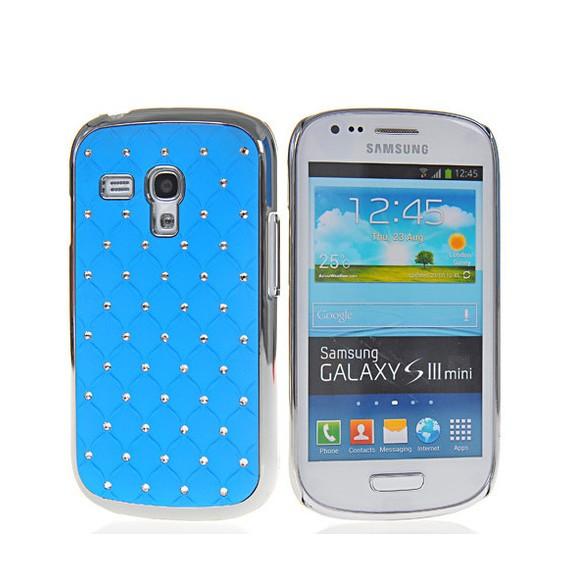 Bling Strass Glitzer Case Galaxy S3 Mini Baby Blau