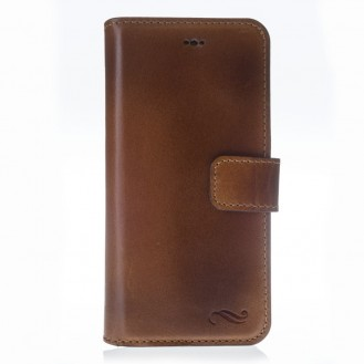 ANTIC ECHT LEDER Book Wallet Etui iPhone 7 Braun