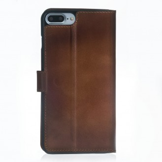 ANTIC ECHT LEDER Book Wallet Etui iPhone 7 Plus Braun
