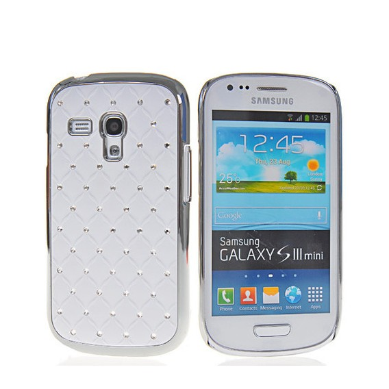 Bling Strass Glitzer Case Galaxy S3 Mini Weiss