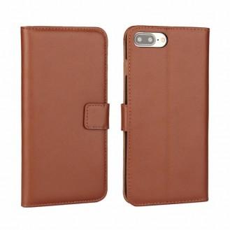 Leder Book Wallet Etui iPhone 7 Plus Hellbraun