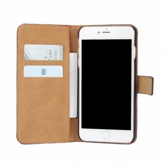 Leder Book Wallet Etui iPhone 7 Plus Blau