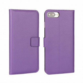 Leder Book Wallet Etui iPhone 7 Plus Lila