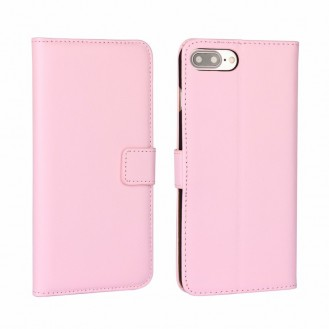 Leder Book Wallet Etui iPhone 7 Plus Rosa