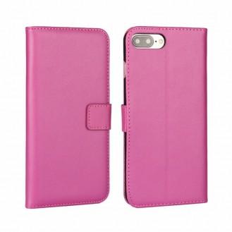 Leder Book Wallet Etui iPhone 7 Plus Pink
