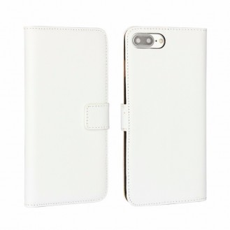 Leder Book Wallet Etui iPhone 7 Plus Weiss