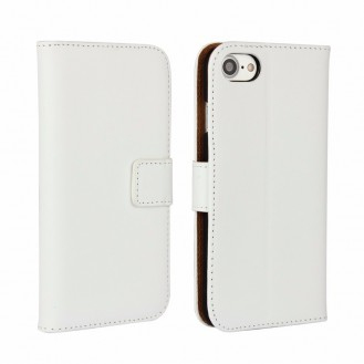 Leder Book Wallet Etui iPhone 7 Weiss