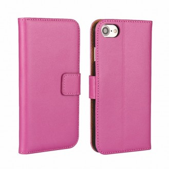 Leder Book Wallet Etui iPhone 7 Pink
