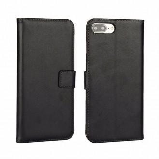 Leder Book Wallet Etui iPhone 7 Plus Schwarz