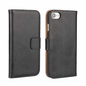 Leder Book Wallet Etui iPhone 7 Schwarz