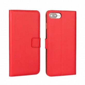 Leder Book Wallet Etui iPhone 7 Plus Rot