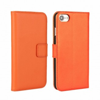 Leder Book Wallet Etui iPhone 7 Orange