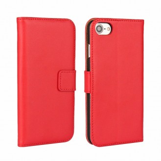 Leder Book Wallet Etui iPhone 7 Rot