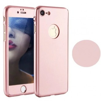 Rosa 360° Full Cover Case iPhone 7 und Panzerglas