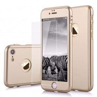 Gold 360° Full Cover Case iPhone 7 Plus + Panzerglas