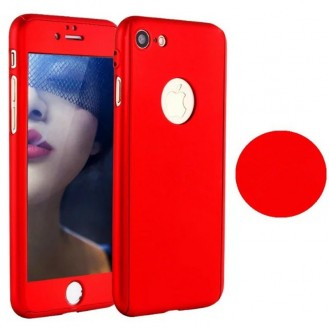 Rot 360° Full Cover Case iPhone 7 Plus + Panzerglas
