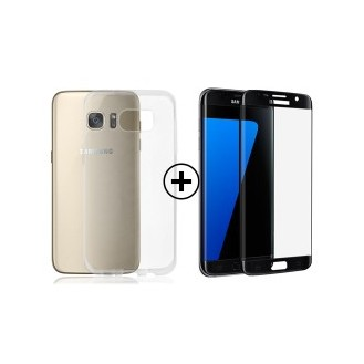 TPU Clear Case + 3D Tempered Glass Black Galaxy S7 Edge